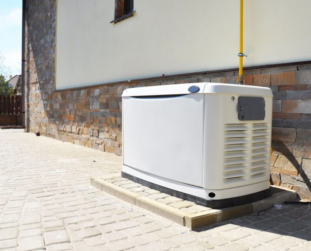 whole-house generator outside a residential home